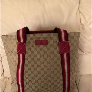 Beige Gucci Tote With Red/White Stripes